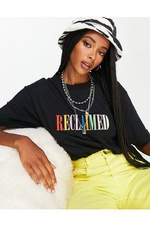 Reclaimed Inspired t shirt with rainbow logo in black