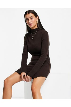 ASOS Knitted rib mini dress with split detail in brown