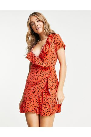 Brave Soul Aza printed wrap dress in red