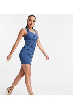 Parisian Button through denim dress in mid blue