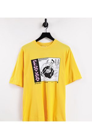 COLLUSION Pique vacay skeleton oversized t-shirt in yellow