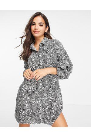 Brave Soul Leopard print shirt dress in grey