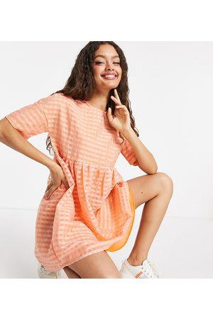 Urban Threads Petite Oversized smock dress in orange gingham