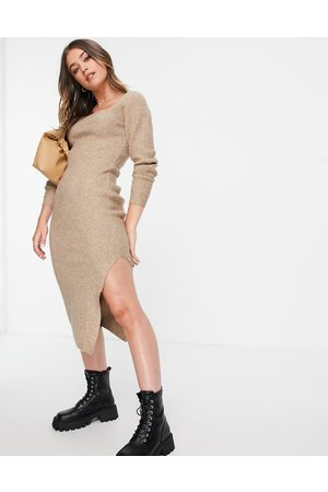 ASOS Ribbed midi dress with square neck in taupe-Neutral