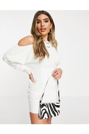ASOS Slouchy off shoulder all over sequin mini dress in white-Pink