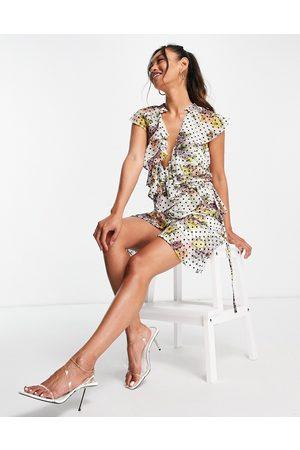 ASOS Dobby spot ruffle wrap mini dress with floral print-Multi