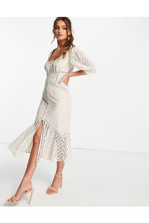 ASOS Lace tea dress with puff sleeve-White
