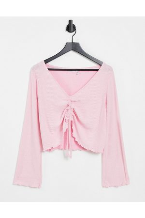 ASOS Mix & match lounge super soft rib long sleeve ruched front top with lettuce hem in pink