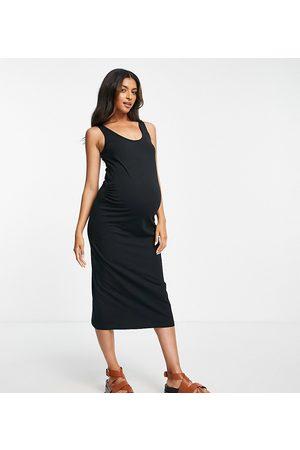 Mama Licious Mamalicious Maternity organic cotton blend midi sleeveless bodycon dress in black