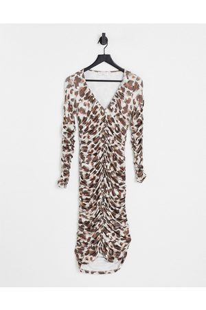 EI8TH HOUR Plunge front ruched midi dress in brown animal print-Multi