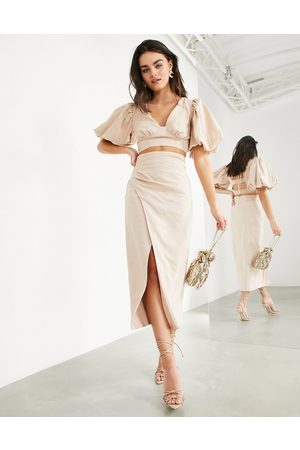 ASOS Midaxi linen skirt with thigh split co-ord-Neutral