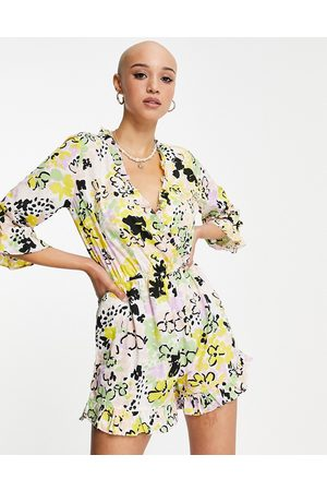 Influence Playsuit in bold floral print-Multi