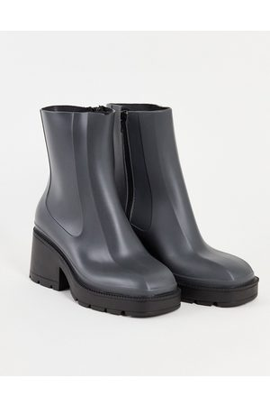 ASOS Grounded heeled rain boots in grey