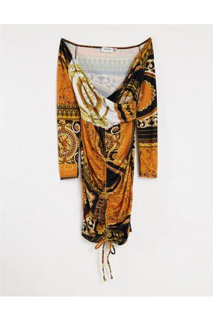 Flounce London Ruched bardot bodycon mini dress in orange scarf print
