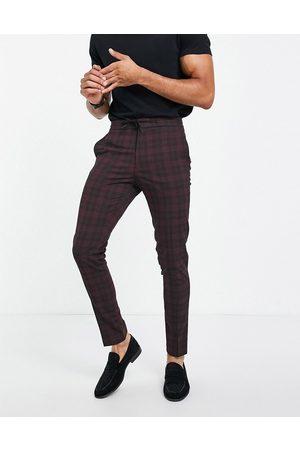 ASOS Co-ord smart skinny tartan drawcord waist trousers in burgundy-Red