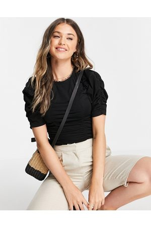 Urban Revivo Rouched detail top in black