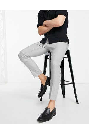 ASOS Tapered smart trousers in grey micro texture