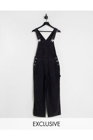 Reclaimed Inspired denim dungarees in washed black