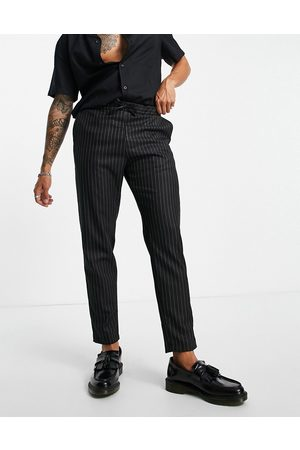 Bolongaro Woven stripe tapered fit trousers with elasticated waist-Black
