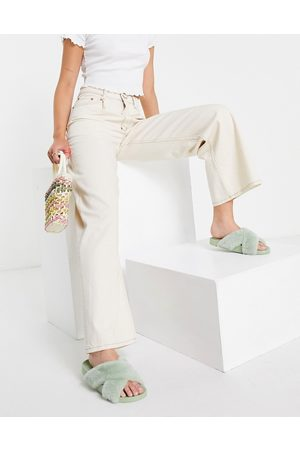 ASOS High rise 'relaxed' dad jeans with pleat fronts in ecru-White