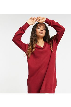 Threadbare Petite Bethany polo neck knitted dress in deep red