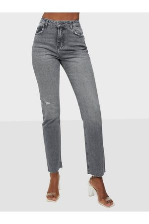Pieces Dame Straight - Pceda Hw Straight Jeans Grey Bc