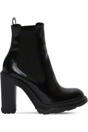 ALEXANDER MCQUEEN 120mm Brushed Leather Ankle Boots