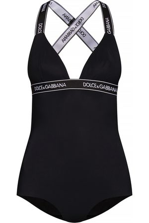Dolce & Gabbana One-piece swimsuit with plunging neckline and branded elastic