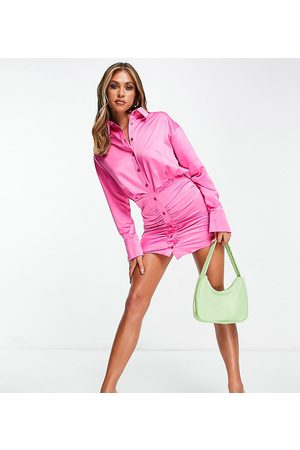 AsYou Satin ruched side shirt dress in pink