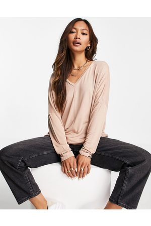 ASOS DESIGN Oversized v neck batwing sleeve top in stone-Neutral