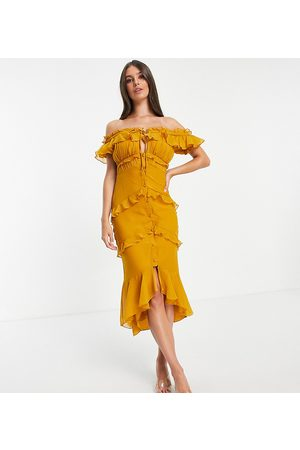 ASOS ASOS DESIGN Tall off shoulder midi dress with button front and ruffle detail-Yellow