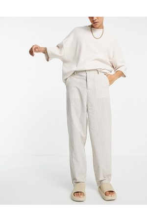 ASOS Herre Chinos - Oversized tapered trousers in linen look stripe-Neutral
