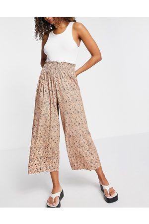 ASOS Shirred waist culotte in ditsy animal print-Multi