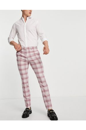 Topman Skinny fit check suit trouser in pink