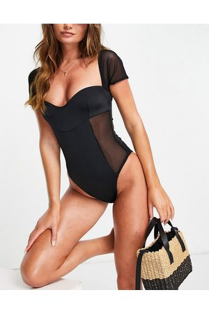 ASOS DESIGN Sweetheart swimsuit in black
