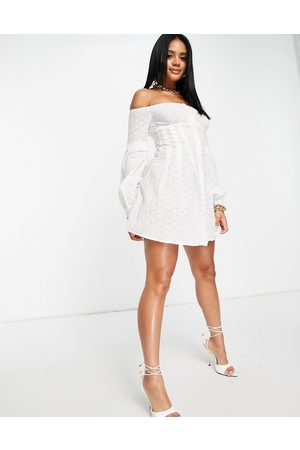 Femme Luxe Off shoulder embroidered cotton shirt mini dress in white