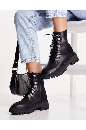 London Rebel Chunky hiker boot in black