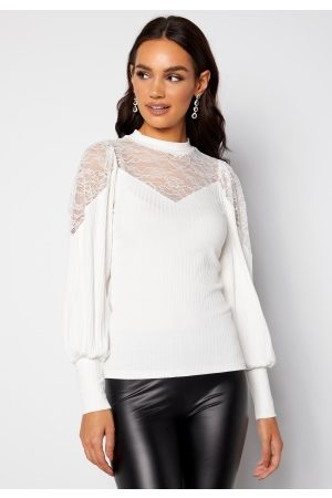 Happy Holly Nathalie lace puff top White 32/34