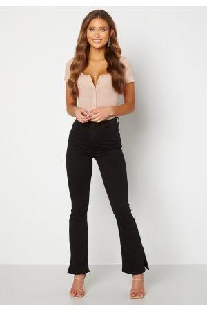 BUBBLEROOM Wendy side slit jeans Black denim 34