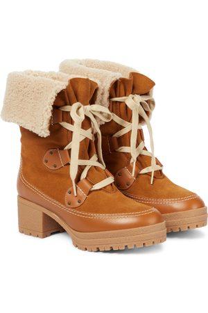 Chloé Dame Skoletter - Verena shearling-lined ankle boots