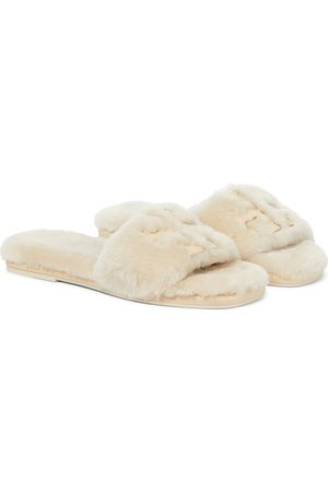 Tory Burch Double T shearling slides