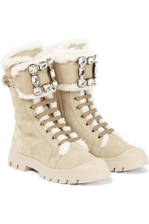 Roger Vivier Walky Viv' shearling-trimmed suede combat boots