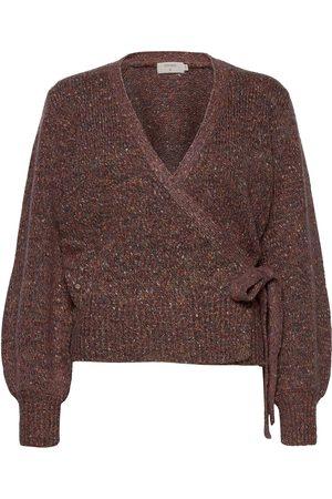 Cream Kiaracr Knit Wrap Blouse Strikket Genser Brun