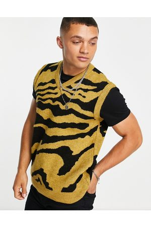 New Look Knitted animal print vest in mustard-Yellow