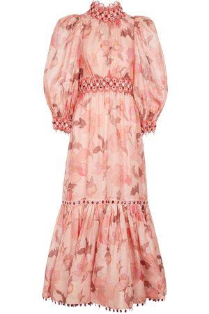 ZIMMERMANN Concert floral linen and silk gown