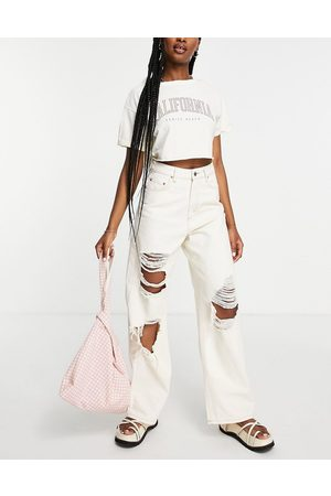 ASOS High rise 'relaxed' dad jean in ecru with extreme rips-White