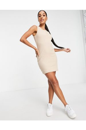 I saw it first Button detail sleeveless mini dress in stone-Neutral