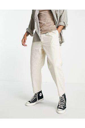 Topman Herre Tapered - Pleat front taper jeans in ecru-White