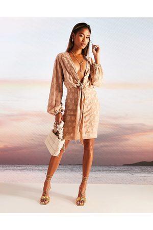 ASOS Plunge knot front mini dress in jacquard spot-Multi
