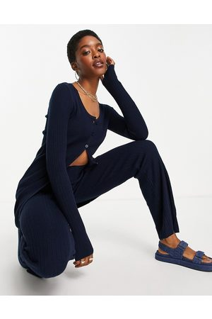 ASOS DESIGN Co-ord knitted rib button through mini dress in navy